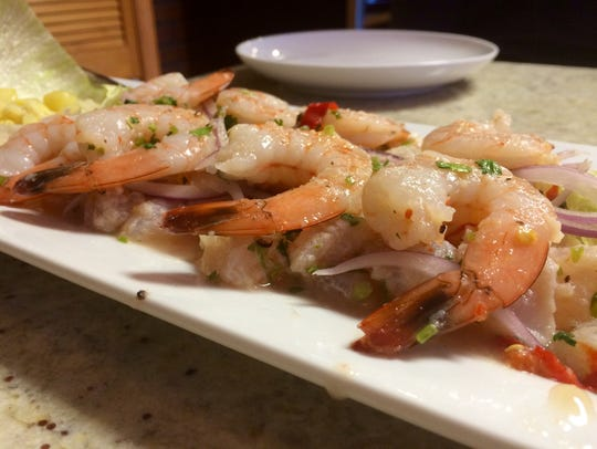 Fish and shrimp ceviche from Aji Limon in south Cape
