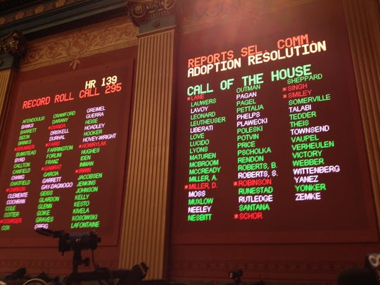 The House was keeping the voting board open for more than an hour. Democrats were withholding enough votes so the House lacked the two-thirds majority or 73 votes needed to oust the Lapeer Republican. Gamrat, R-Plainwell, and Couser also voted against the expulsion along with Rep. Martin Howrylak, R-Troy.