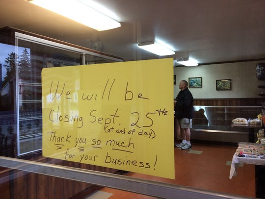 A sign at Gremler's Bakery in Wisconsin Rapids announces