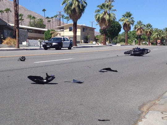 A motorcycle crash left debris scattered across Palm Canyon Drive Monday. The rider suffered life-threatening injuries, police said.