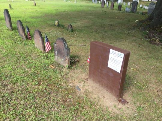 Covered headstone of Ann Fisher Miller, Revolutionary