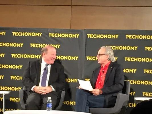 Mayor Mike Duggan (left) speaks with Techonomy founder David Kirkpatrick