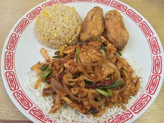 The truly spicy kung pao chicken is one of eight main course choices (six meat, two vegetarian) with the $7.95 lunch special at Asian Noodles.