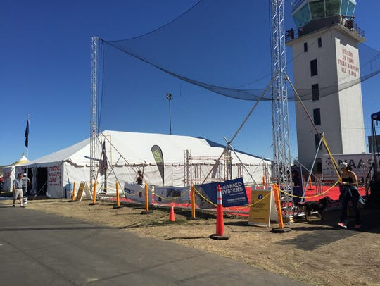 The Drone Zone featured a netted enclosure set up by