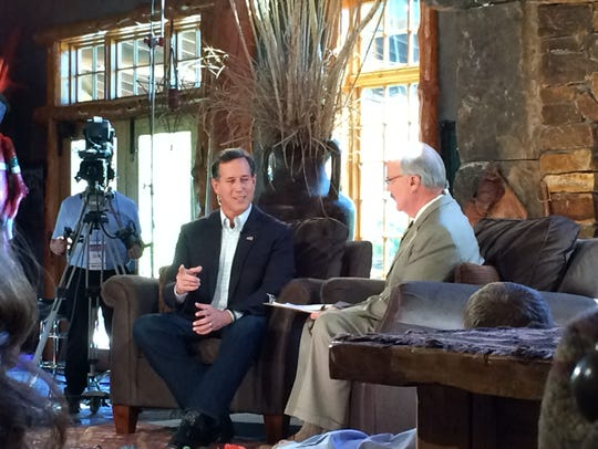 Former Sen. Rick Santorum answers a question from the