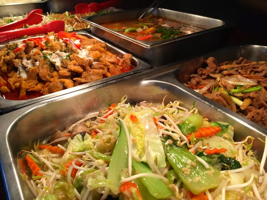 The popular lunch buffet offerings at Ban Thai in Tumon.