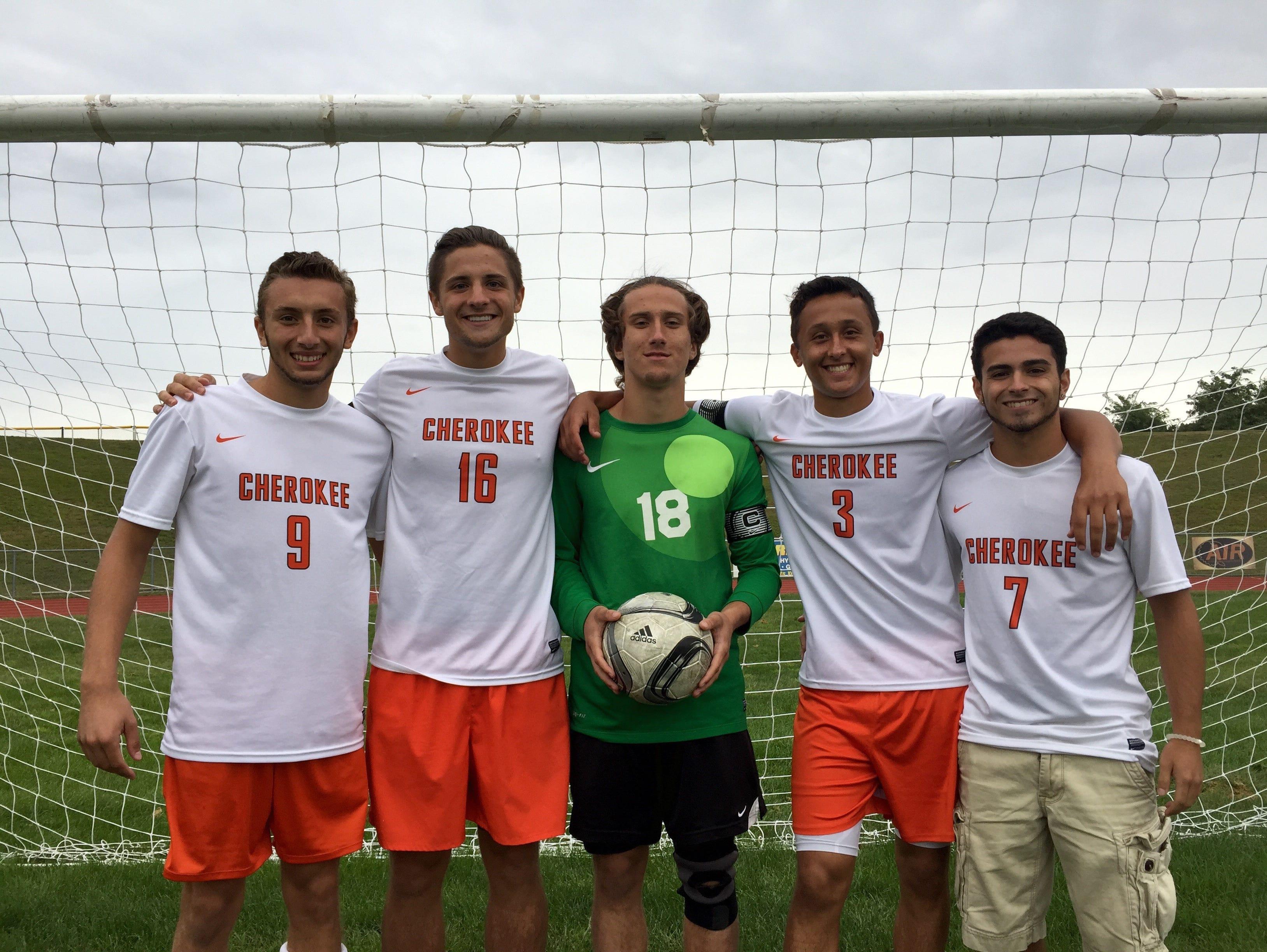 The Cherokee High School boys' soccer team seniors (L to R) Eamon McCarren, Mario LaMorte, Zach Rowe, Cristian Ognibene, Justin McCarthy
