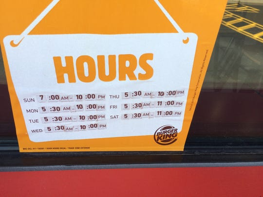 Dining room hours for Burger  King in Wisconsin Rapids.
