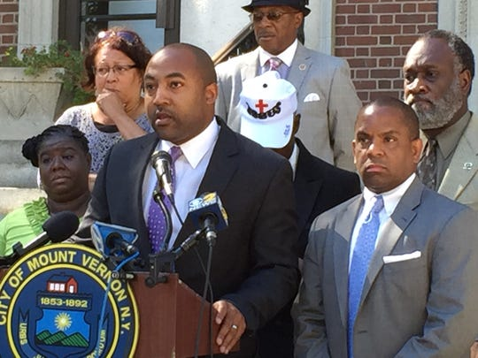 Attorney Jared Rice speaks outside Mount Vernon City Hall Wednesday about allegations that NYPD officers broke into a Mount Vernon couple's home.