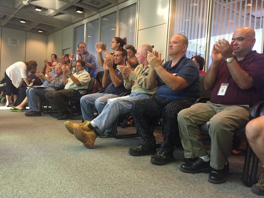 Attendees at the public hearing Thursday for Broome