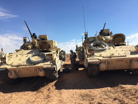 Some Bradley Fighting Vehicles line up at the Network