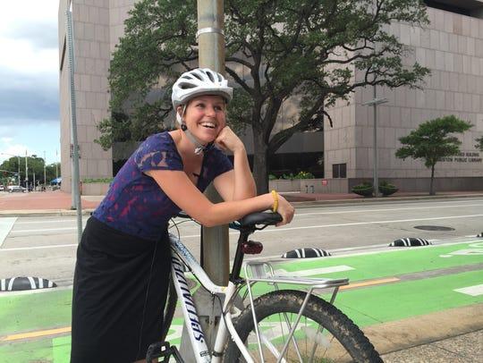 Mary Blitzer of BikeHouston said the city's new protected