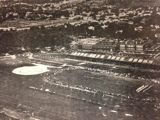 The old stands behind the school before the 1970s addition.