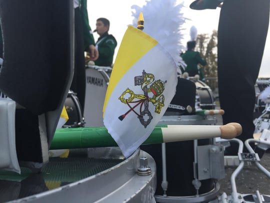 The flag of the Vatican City decorates instruments