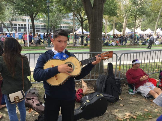 Mariachi musician, Javier Miranda, 15, from East Chicago,