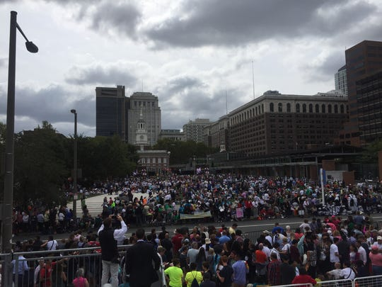 The crowd gathering at Independence Hall.