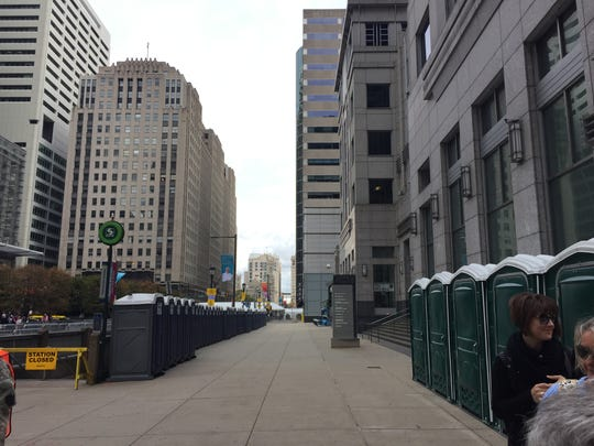 There are no lines for port-o-potties at 18th St. and JFK Blvd. next to one of the security entrances to access area near City Hall.