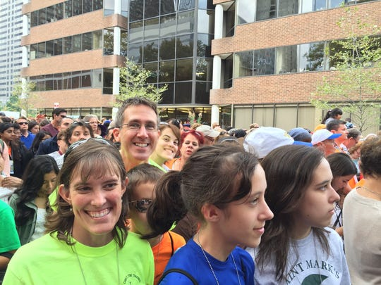 Dan and Suzanne Kirk head to Benjamin Franklin Parkway to celebrate Mass with Pope Francis Sunday.