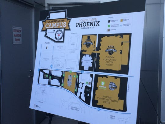 """The host committee for the 2016 College Football Playoff National Championship game revealed Tuesday the logo and map of """"Championship Campus."""""""
