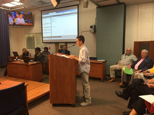 Spencer Amsellem, an eighth-grader, asked the district to adopt new anti-bullying measures during a school board meeting Tuesday.