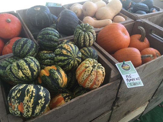 Pumpkins and squash were available at the Burlington Farmers Market on Saturday. Full Moon Farm in Hinesburg said their harvest was largely untouched by the sporadic summer weather.