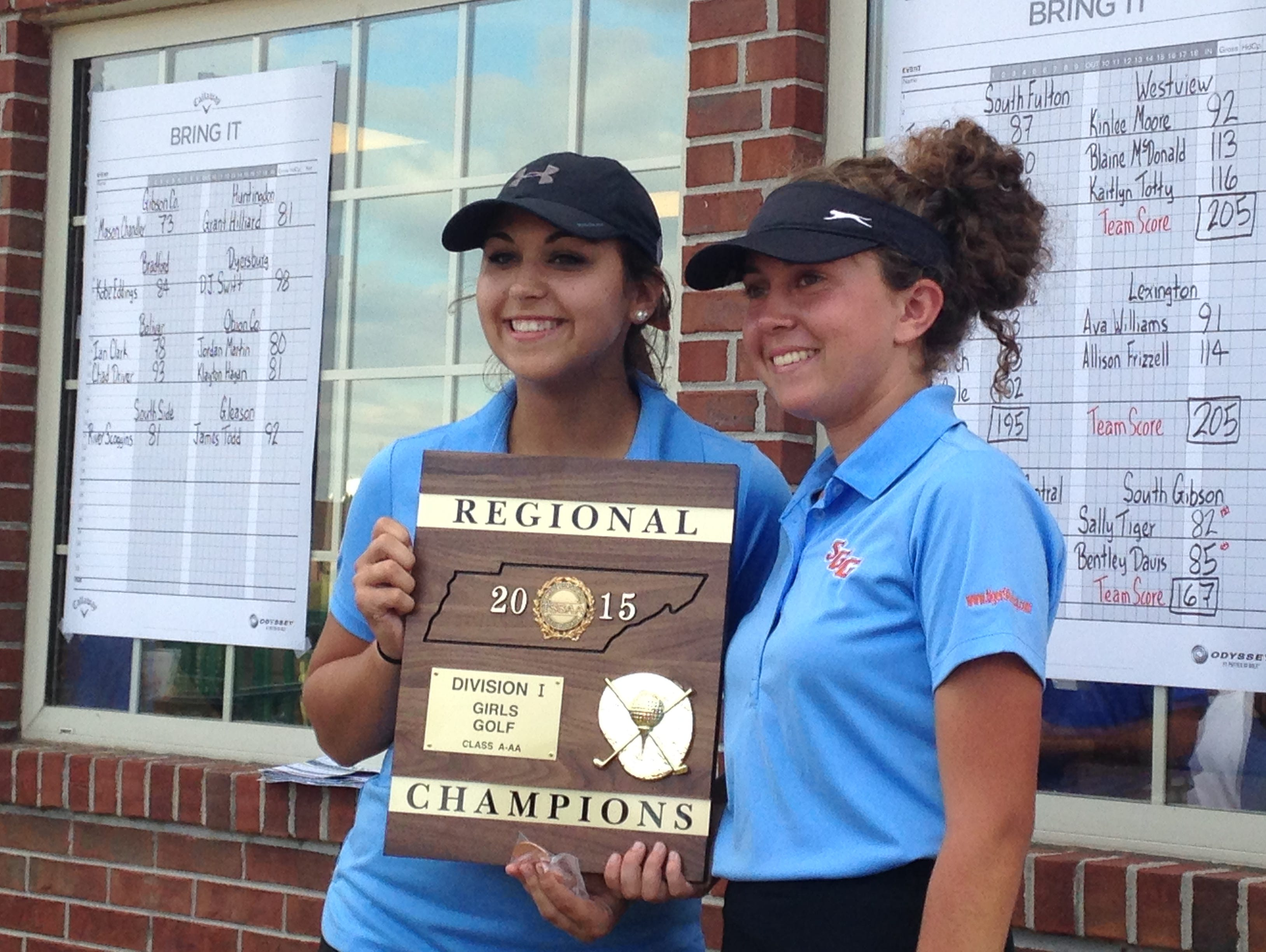 South Gibson's Bentley Davis and Sally Tiger won the Region 7 A-AA team championship Monday in Dyersburg.