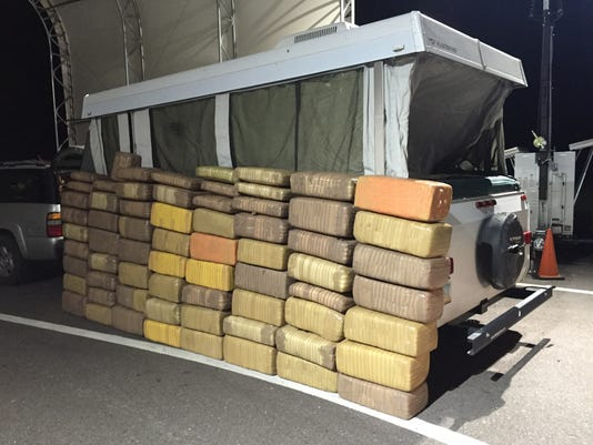 Border Patrol Agents seized 1,388 lbs of marijuana from a camper trailer in Ajo.