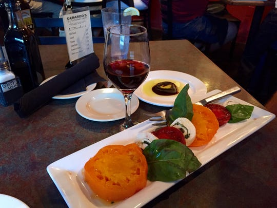 Gerardo's Firewood Cafe offers a variety of pastas and pizzas, a terrific wine list and this Caprese salad of locally-grown tomatoes and mozzarella roll.