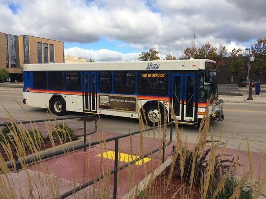 A Metro Ride bus passes by the Wausau depot on Oct.