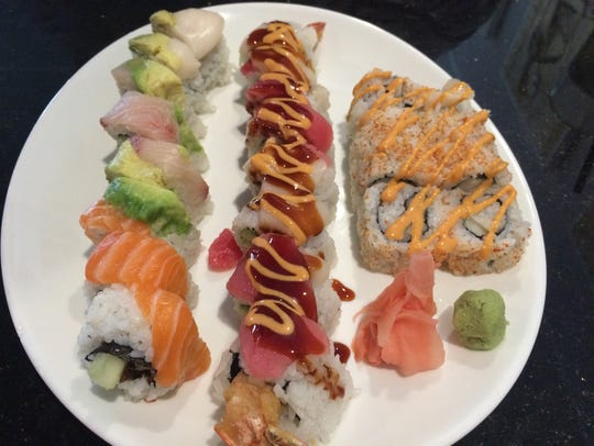 The dragon roll, snake roll, and spicy white tuna roll