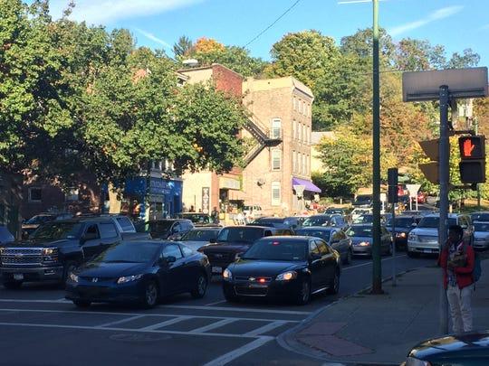 Seneca Street traffic is snarled at Aurora Street following