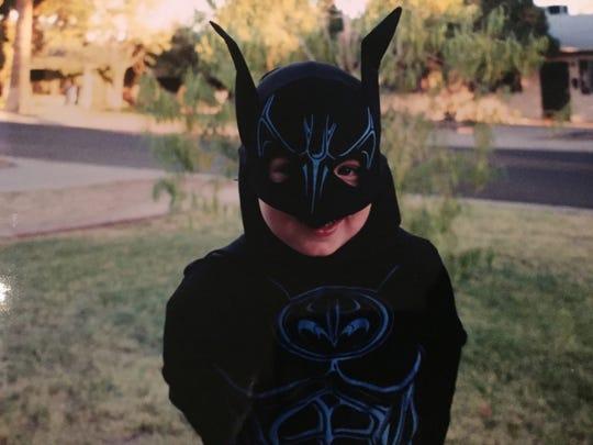 Karina Bland's son, Sawyer, wore a Batman costume for