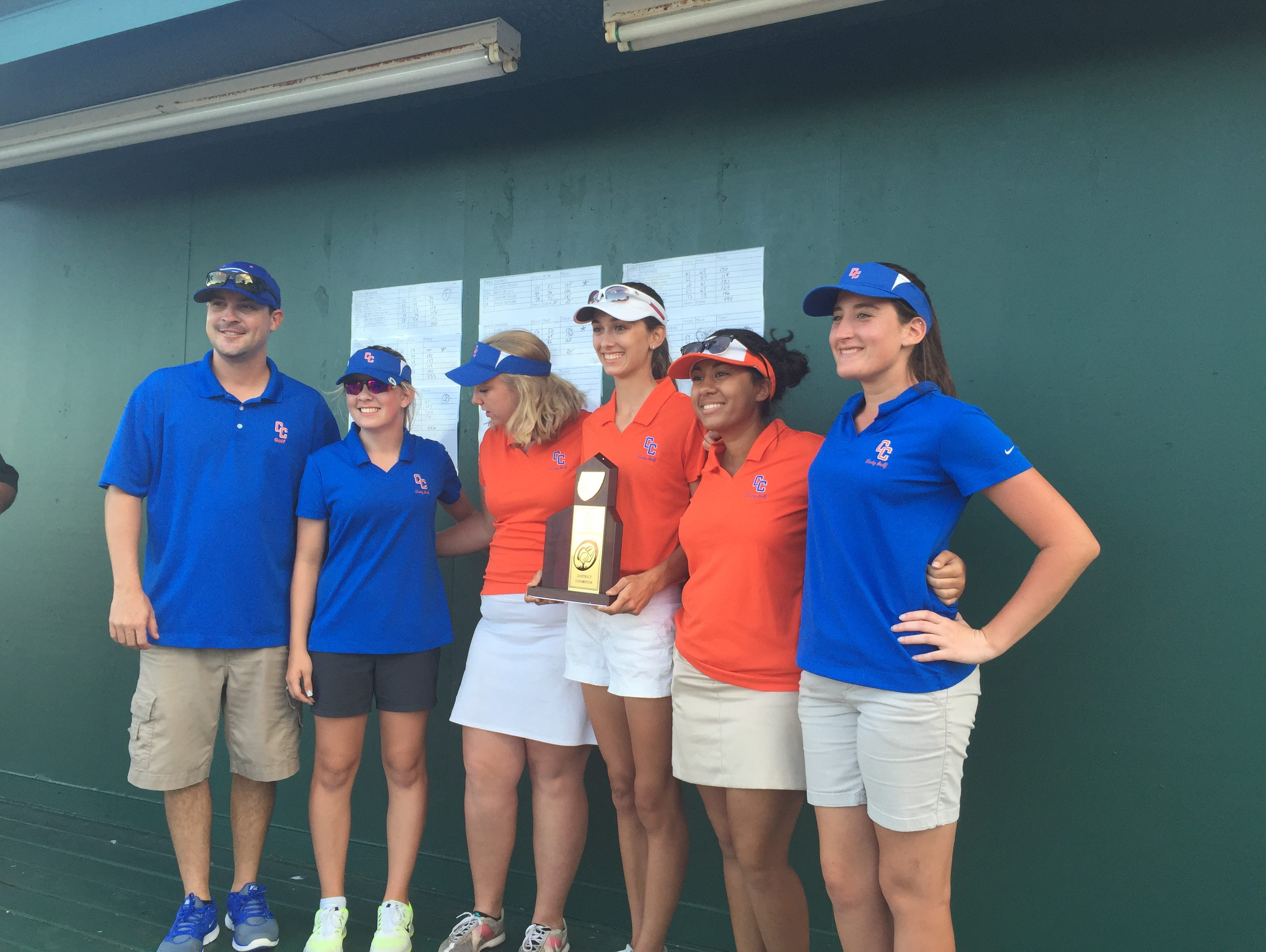 The Cape Coral girls golf team repeated as District 2A-20 champions Tuesday at Fort Myers Country Club.