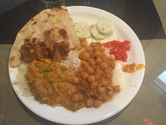 Items from the lunch buffet at Tandoor Indian Restaurant