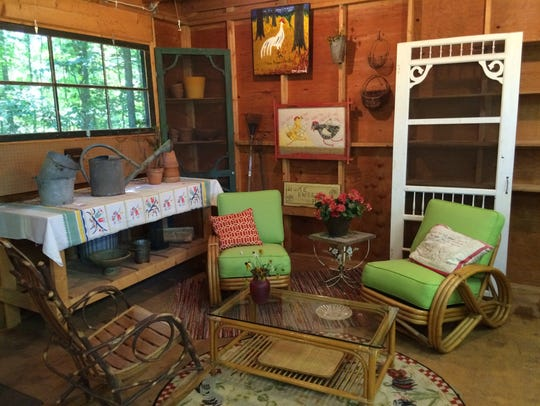 The interior of the Beach Road garden-themed she shed.