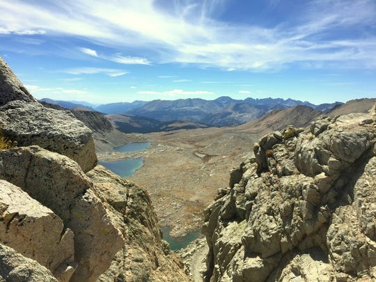 The view from the top of Forester Pass, elevation 13,200 feet, is a welcome reward for climbing the highest pass on the Pacific Crest Trail.