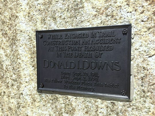 It's easy to miss this memorial to Donald Downs, a worker who died during construction of the trail over Forester Pass in Sequoia National Park.