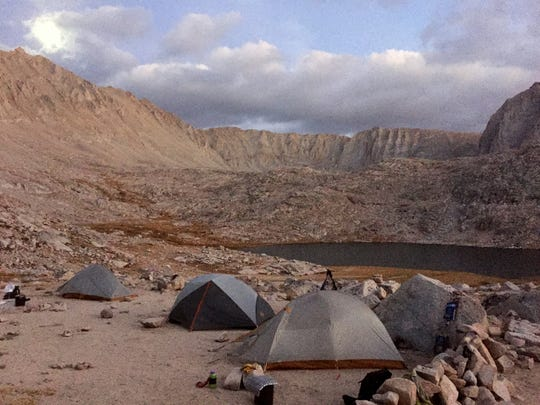 Amenities are sparse at campsites at Guitar Lake, the final stop for many people approaching Mt. Whitney from the backcountry.