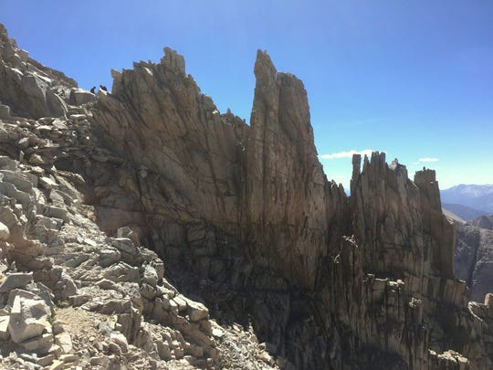 This section of trail near the top of Mt. Whitney is a challenge for hikers to navigate. It's best to step slowly and carefully along here.