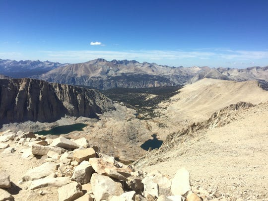 Looking down toward Guitar Lake from near the top of Mt. Whitney.