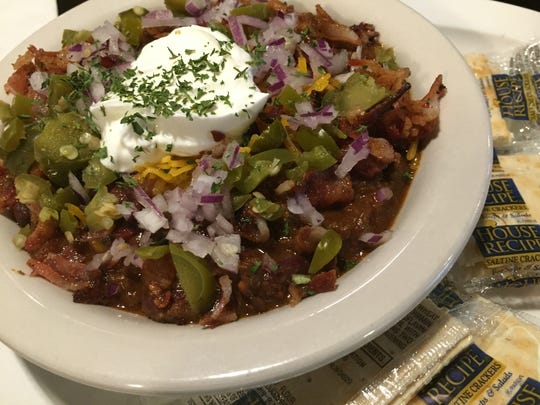The toppings seal The Mousetrap's chili's fate as Liz Biro's favorite in Indianapolis. Crunchy bacon adds flavor and a striking textural contrast.
