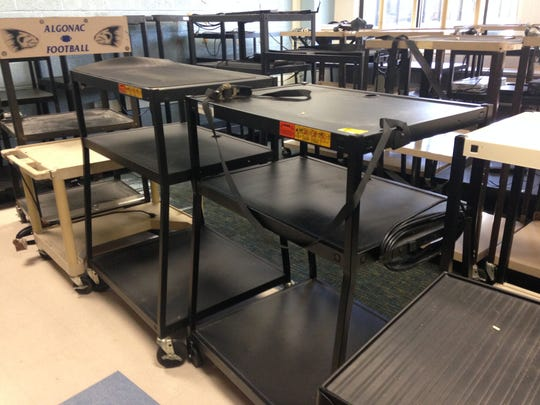 Electronics carts are among the thousands of unused items being sold or donated at Algonac Community Schools garage sale on Saturday.