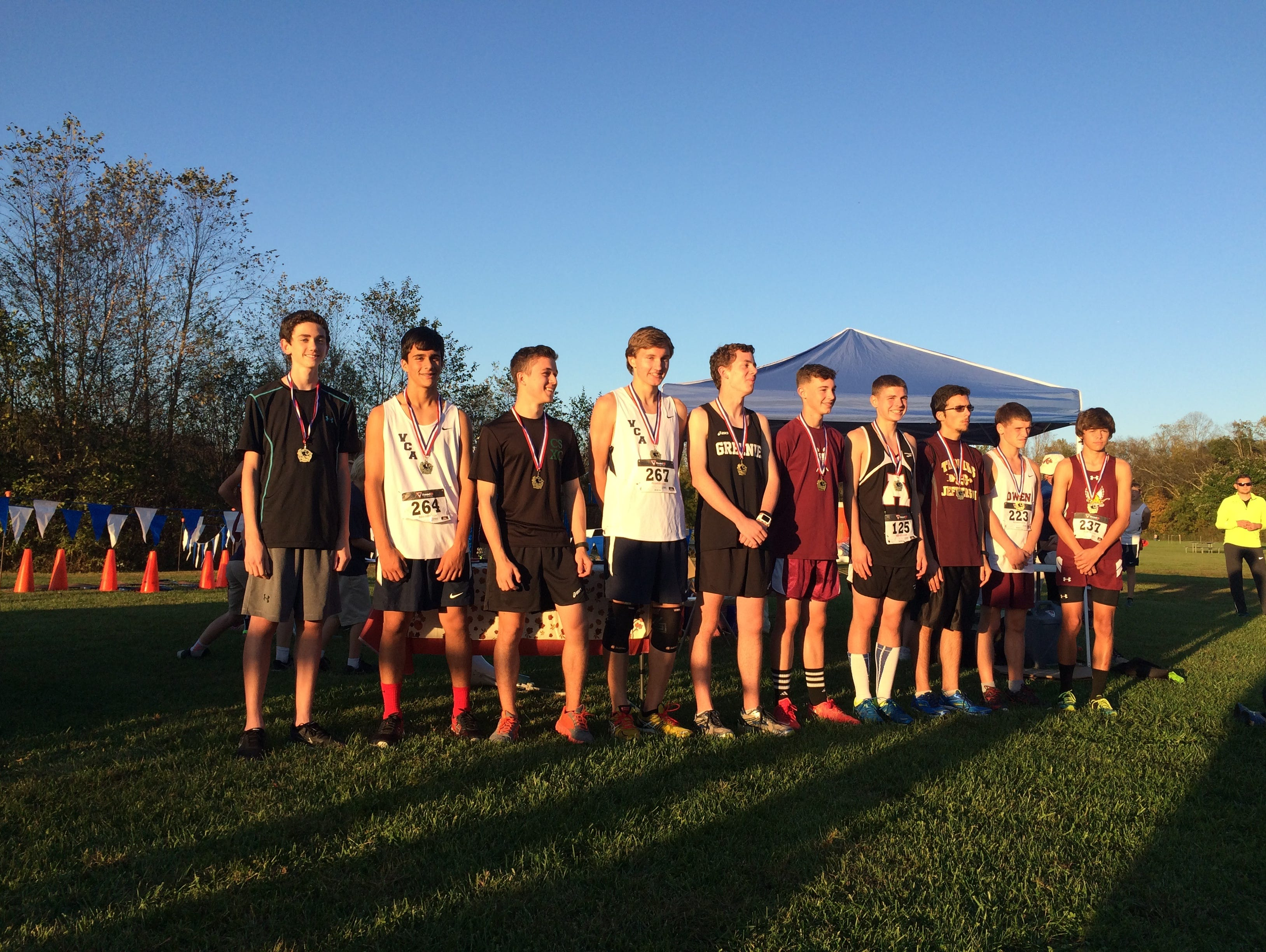 The top-10 boys runners at Thursday's Veritas Christian Academy Invitational cross country meet in Fletcher.