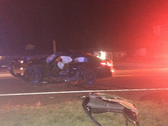Two vehicles wrecked Monday night on the Bypass.