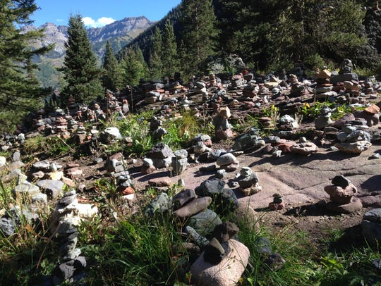 Stacks of stones in Colorado. These kinds of man-made
