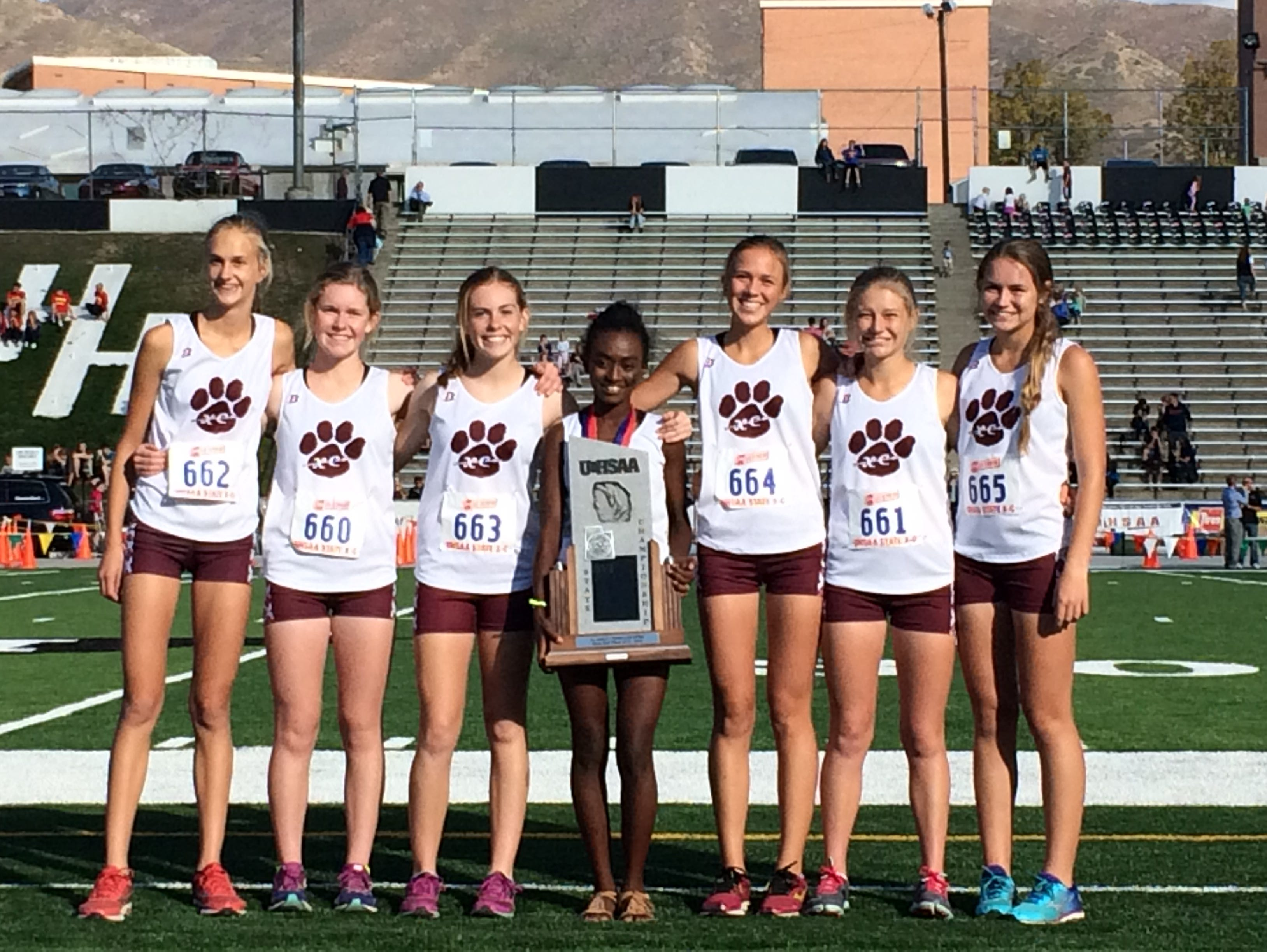 The Pine View girls cross country team finishes in second place -- for the second consecutive year -- during the 3A state cross country meet at Sugar House Park on Wednesday.