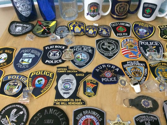 Police from around the country have sent Jeremie Bordua patches, mugs, key chains, a whistle and badges.