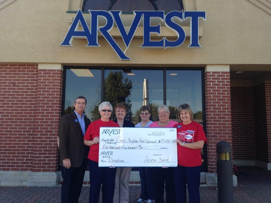 The Good Neighbor Food Cupboard receives $5.400 from the Arvest Bank Charity Golf Tournament. Shown are, from left, Scott Tennyson, Arvest Bank; Phyllis Nay, Arvest Bank; Sharon Kish, Good Neighbor Food Cupboard; Mildred Hampton, Good Neighbor Food Cupboard; Helen Largent, Good Neighbor Food Cupboard; Brenda Riddle, Arvest Bank