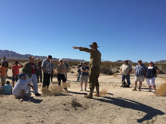 Angus Smith, General Patton Memorial Museum board member, gives a lecture about the history of Camp Iron Mountain, one of 13 divisional training camps that operated within the massive Desert Training Center during World War II. Oct. 22, 2015.