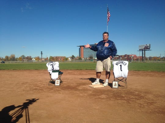 Navin Field Grounds Crew co-founder Tom Derry talks about former Detroit Tigers infielders Alan Trammell and Lou Whitaker on the grounds of the old Tiger Stadium on Sunday, October, 25, 2015.